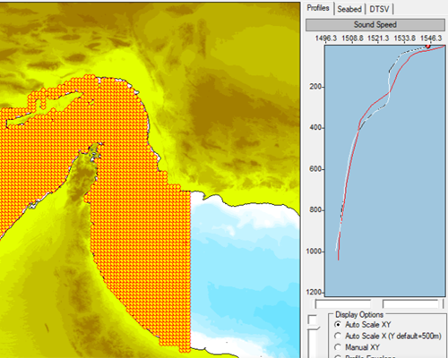 WADER V8.1 Showing high-resolution DTSV profile positions and comparison of DTSV profiles with climatology