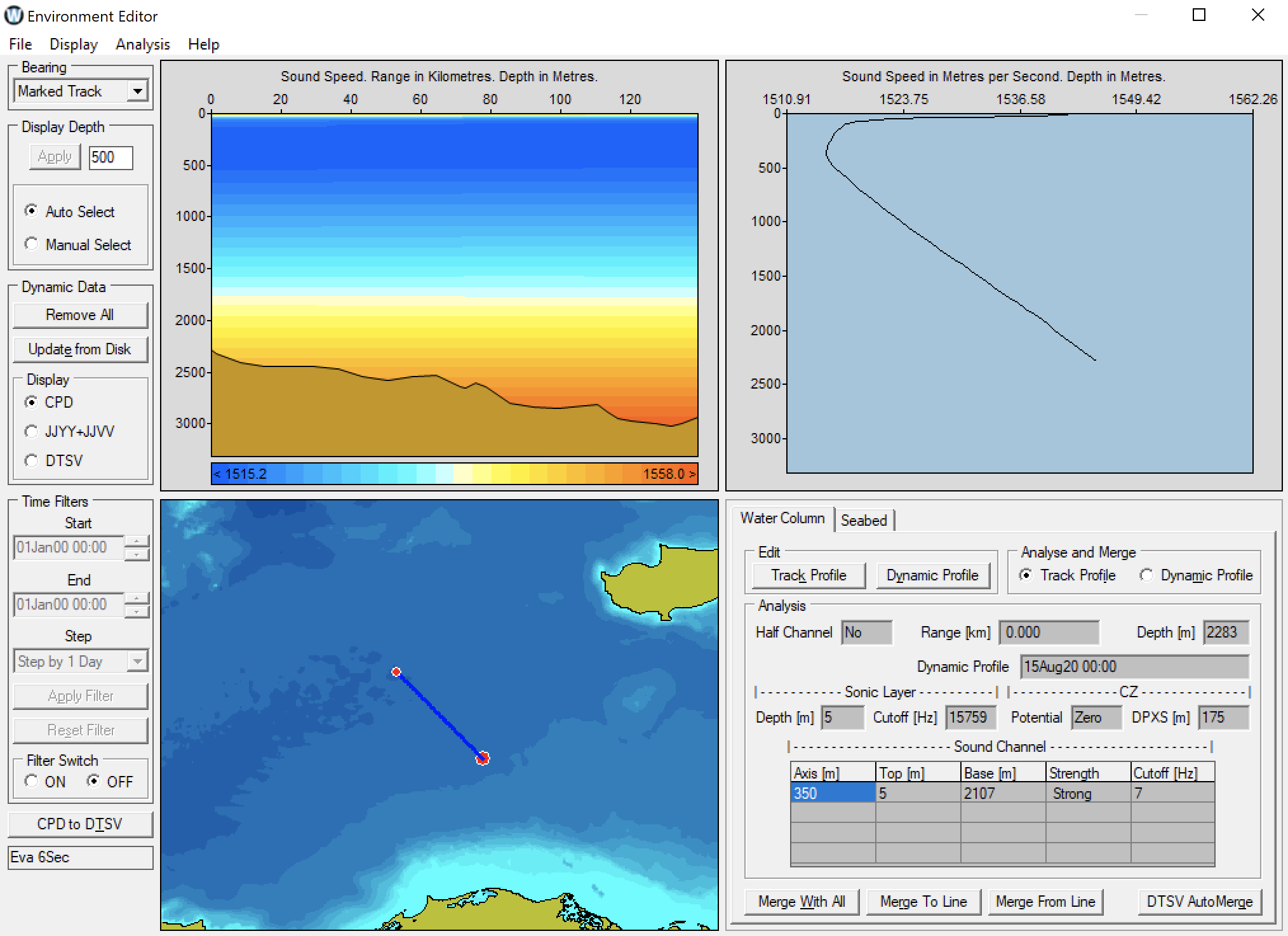 WADER Sonar Range Prediction and Global Ocean Information System for underwater acoustics, sonar range predictions and ocean environment analysis
